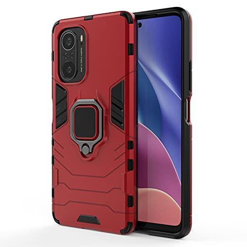GOGME Funda para Xiaomi Poco F3 / Mi 11i 5G, Shockproof Carcasa con 360 Grados Giratorio Anillo Kickstand y Soporte de Coche Magnético, Hard PC y Silicona TPU Tough Armor Case Cover. Rojo