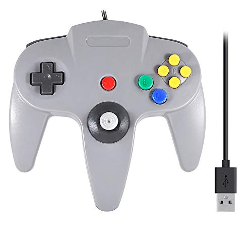 QUMOX Gaming USB Mando Controlador Gamepad con Cable para Consola Nintendo 64 N64 Gris