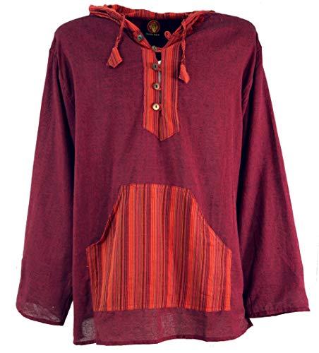 GURU SHOP Yoga Hemd, Goa Hemd, Patchwork Sweatshirt, Leichter Freizeit Hoodie, Herren, Weinrot, Baumwolle, Size:XXL, Hemden Alternative Bekleidung