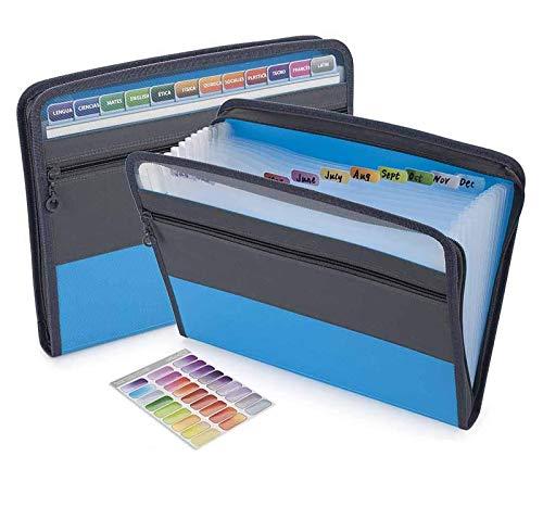 Sooez Expanding File Folder with Sticky Labels, 13 Pocket Accordion File Folder Document Organizer Expanding Zip File Folder with Zipper Closure, Letter A4 Paper Document Accordion Folder, Blue