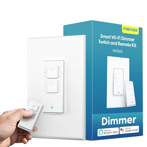 meross Smart Dimmer Switch with Remote, Supports Alexa, Hey Google & SmartThings, 2.4 GHz Wi-Fi Light Switches Dimmable, Remote Control, Schedule, No Hub Needed, Neutral Wire Required