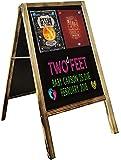 uyoyous Cartel para clientes, 95 x 53 cm, soporte para publicidad, pizarra, soporte para aceras, de madera, magnético, de pie, color negro, para café, bar, restaurante, hotel, librería