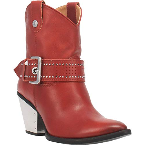 """Dingo Womens Backstage Studded Booties Casual Mid Heel 2-3"""" - Red - Size 8 B"""