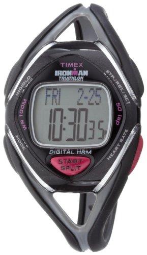 Timex Ironman Triathlon Race Trainer - Reloj de Mujer de Cuarzo, Correa de Goma Color Negro (con pulsómetro, Alarma, Cuenta Vueltas, luz, cronómetro)