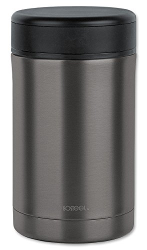 Isosteel VA-9684AT Doppelwandiger Vakuum 0,5 L, 18/8 gebürsteter Edelstahl Isolierbehälter für Lebensmittel, Grau, 0,5 Liter
