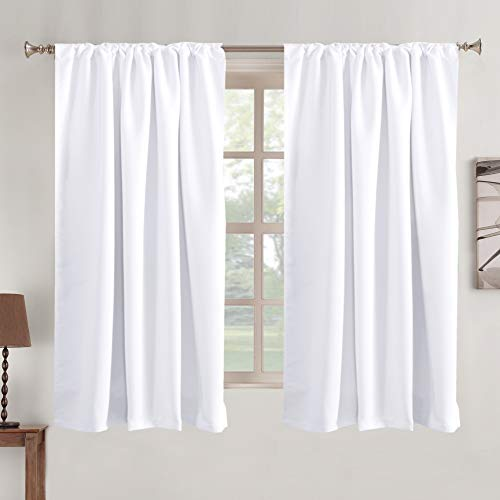 """White Window Curtains Insulated Thermal Back tab/ Rod- Pocket 50% Room Darkening Curtains, Pure White, Solid Curtains for Living Room, 52"""" W x 63"""" L inch (Set of 2 Panels)"""