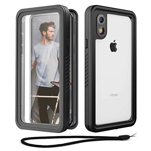 Beeasy Coque iPhone XR Antichoc, IP68 Étanche 360 ° Protection avec Protecteur d'Écran Intégré,Imperméable Antichoc Antipoussière Anti Neige Waterproof Etui Housse Case, Noir