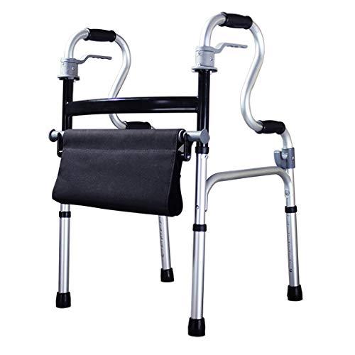 Leichte 3,9 kg Faltbare Erwachsenen Senioren Rollator Walking Fram Aid ohne Rad | Aluminiumlegierung |mit Sitz |Einstellbare Höhe 78-93cm |Maximale Last 180kg