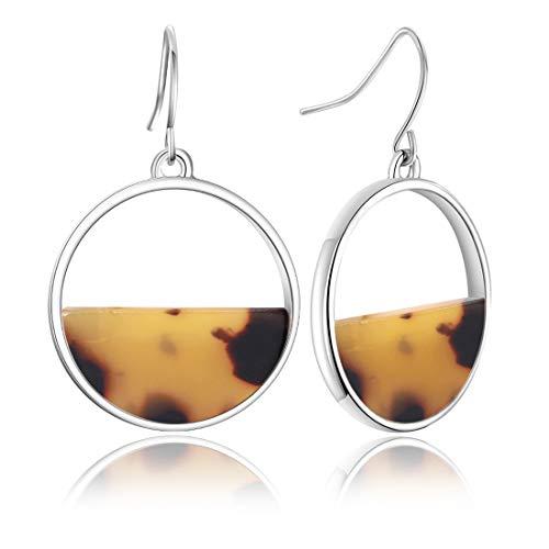 Acrylic Earrings, Womens Geometric Resin Drop Dangle Earrings Statement Hoop Earring Tortoise Stud Earrings Jewelry
