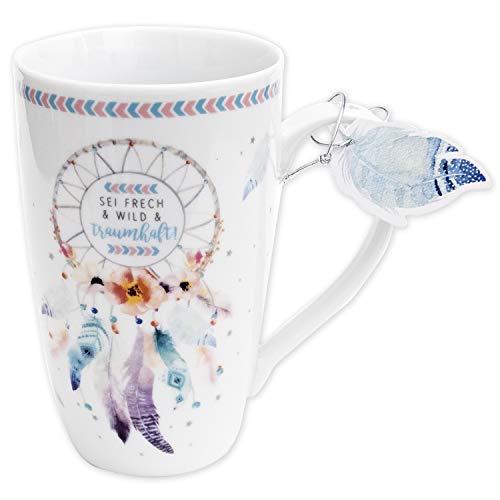 Die Geschenkewelt 45693 große Kaffee-Tasse mit Design Traumfänger, mit Geschenk-Anhänger, Porzellan, 50 cl