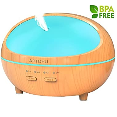 Essential Oil Diffuser, 300ml Wood Grain Ultrasonic Aromatherapy Diffuser with Timer - Aroma Humidifier with Waterless Auto Shut-off 7 Color LED Lights Changing for Home Office Kitchen Baby