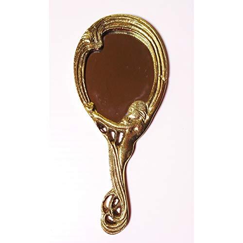 GR Handspiegel Schminkspiegel Messing Jugendstil Antik-Design Kosmetik-Spiegel Gold