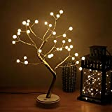AMARS 18 Inch Desk Table LED Bonsai Tree Lights Lamp Battery and USB Plug Operated Decorative 36leds Pearl Artificial Tree Decoration for Bedroom Home Party (Touch Switch, Warm White)