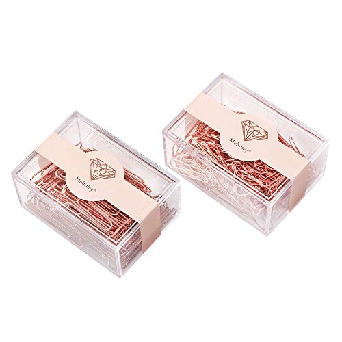 200Pcs Rose Gold Medium Size Paper Clips 70Pcs 2 Inches Jumbo Marking Clips Matal Bookmark in Reusable Paper Clip Holder School Home Office Desk Supplies (Rose Gold 28mm+50mm)