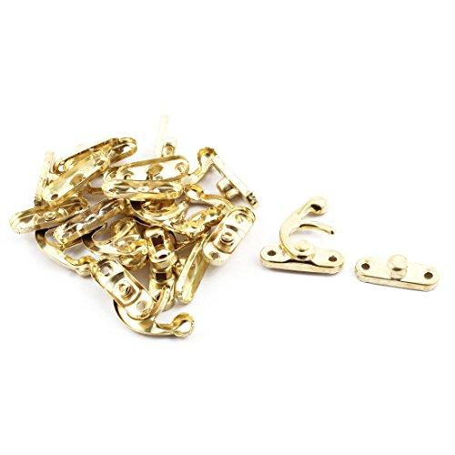 Aexit Hogar, metal, estilo chino, estilo vintage, bolsa de columpio, cofre, cerrojo, caja, cierre, gancho, bloqueo, tono (model: C2009VIX-6815DH) dorado, 10 juegos