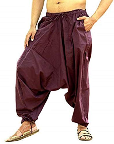 Pintrest Boho Hippie Harem Pantalones para Hombre de algodón Aladdin Pantalones - Morado - Talla Única