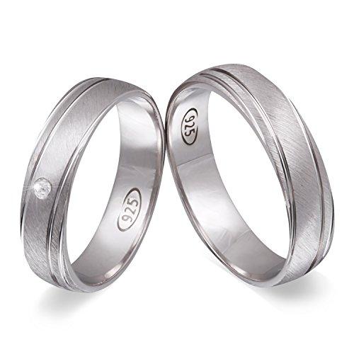 Juwelier Schönschmied - Zwei Trauringe Verlobungsringe Eheringe Ginger Silber Zirkonia inkl. persönliche Wunschgravur 50-52 NrS101HD