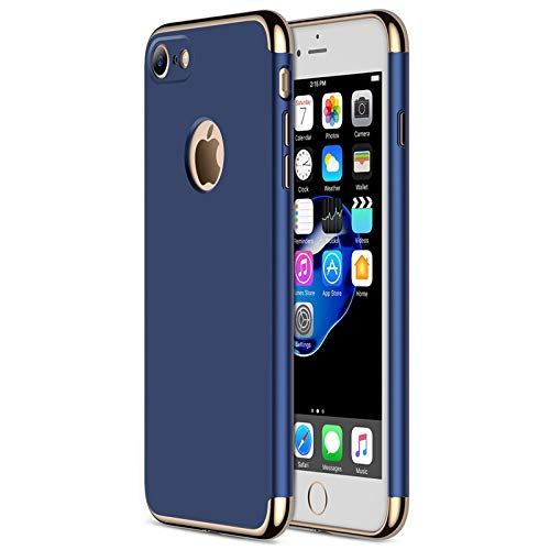 iPhone 7 Case, CROSYMX 3 in 1 Ultra Thin and Slim Hard Case Coated Non Slip Matte Surface with Electroplate Frame for Apple iPhone 7 (4.7'')(2016) - Blue