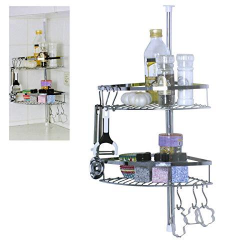 Smartweb Küchenregal Teleskopregal Küchen Regal Gewürzregal Ablagefach Küche 2 Fach mit Haken