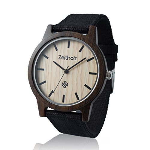 Zeitholz Unisex-Uhr analog Quartz-Uhrwerk mit schwarzem Canvas Armband Modell Reinsberg