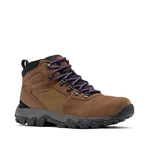 Columbia Men's Newton Ridge Plus II Suede Waterproof Hiking Boot, Dark Brown/Cyber Purple, 11 Wide