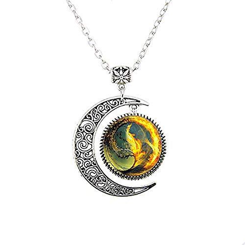 Divergent Inspired - Fondo marrón - Insurgente - Colgante de cristal de tsunami de mar, collar de luna divergente
