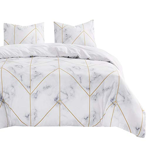 Wake In Cloud - Marble Comforter Set, Grey Gray Black and White with Gold Geometric Lines Modern Pattern Printed, Soft Microfiber Bedding (3pcs, Queen Size)