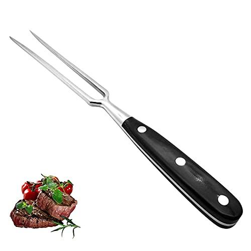 Joycabin Tenedor de carne de acero inoxidable, ABS negro, mango largo forjado, 30 cm, tenedor para servir para cocina y barbacoa.