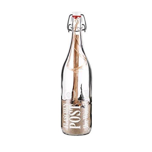 Herz & Heim® Flaschenpost mit Füllung - Muschel - mit Gratis Gravur des Wunschtextes - die etwas andere Grußkarte