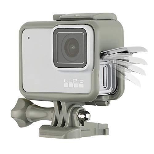 【Taisioner】GoPro HERO 5・GoPro HERO6 GoPro・HERO7 Black用 保護フレーム+シリコンレンズカバー 第二世代 スポーツカメラアクセサリー ブラック・グレー (グレー(灰))
