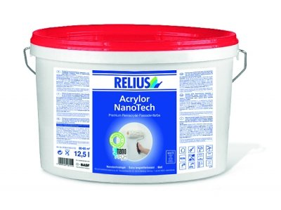 Relius Premium Reinacrylat-Fassadenfarbe Acrylor NanoTech Weis matt 12,5 Liter