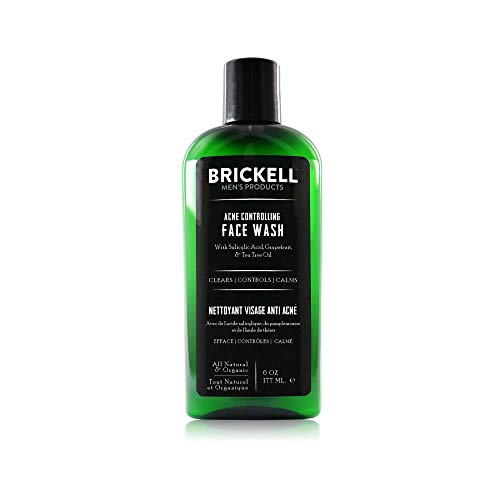 Brickell Men's Acne Controlling Face Wash for Men, Natural and Organic Acne Face Wash to Cleanse Skin and Eliminate Acne, Clears Breakouts, 2% Salicylic Acid, 6 Ounces