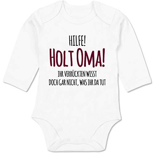 Shirtracer Sprüche Baby - Hilfe Holt Oma - 3/6 Monate - Weiß - Strampler mädchen - BZ30 - Baby Body Langarm