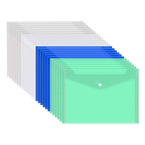 Gurkkst Cartelline Portadocumenti 4 Colore A4 Cartelle Plastica con Bottone per Documento Storage (24 pz)
