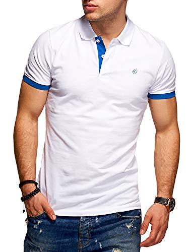 Jack & Jones Polo para Hombre Camiseta Camisa Manga Corta Unicolor (M, White/Classic Blue)