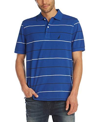 Nautica Men's Classic Fit Short Sleeve 100% Cotton Pique Stripe Polo Shirt, Bright Cobalt, X-Large