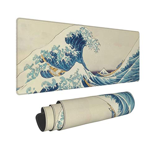 KLATIE Gaming Mouse Pad, Japanese Wave Waterproof Mouse Pad, Large Mouse Mat with Stitched Edges for Desk, PC, Computer, Home, Office,11.8 x 31.4 x 0.11Inches