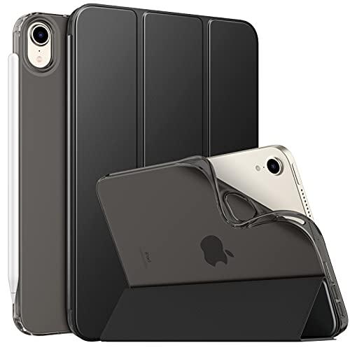 MoKo Hülle Kompatibel mit Neu iPad Mini 6 8,3 Zoll 2021(iPad Mini 6. Generation), PU Leder Tasche Schutzhülle mit Transluzent TPU Rücken Deckel Auto Schlaf/Wach Funktion, Schwarz