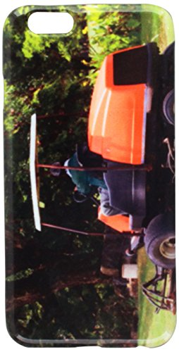 Man Arbeit Gärtner Aufsitzmäher Maschine in Golf kurs. Handy im Schutzhülle iPhone 6