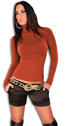 Instyle - Jersey para mujer de manga larga, con cuello alto Arancione - arancione 36