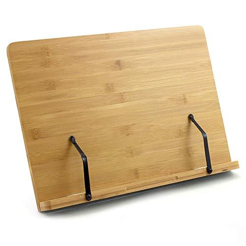 BINSENI Buchständer, Rezeptbuchständer, Buchhalter zum Lesen, Küche, mit 2 Metall-Seitenhalter, hergestellt aus umweltfreundlichem Bambus, perfekt für Kochbücher, Rezepte, iPad, Tablets (A)