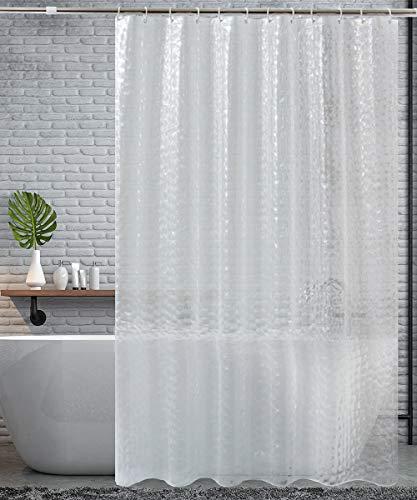 HOMMINI Duschvorhang, Anti-Schimmel Duschvorhänge, Wasserdicht Waschbar, 180x200cm Shower Curtains mit 12 Duschvorhangringe, PEVA Anti-bakteriell 3D Wasserwürfel Halbtransparent (Halbtransparent Weiß)