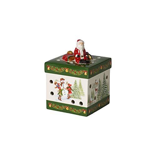 Villeroy & Boch - Christmas Toys portacandela motivo Babbo Natale piccolo quadrato, pacchetto regalo decorativo in porcellana dura, per lumini, colorato