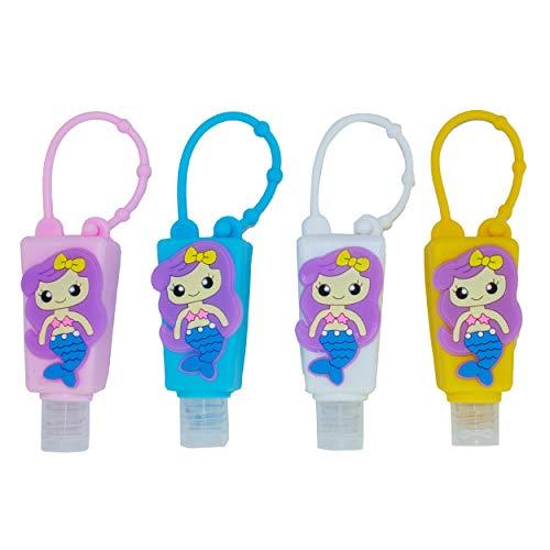 Bottiglie da viaggio portatili per bambini, erogatori vuoti da 30 ml per la ricarica di disinfettanti per le mani, shampoo, accessori da viaggio per bambini – (Sirena, 4 pezzi)