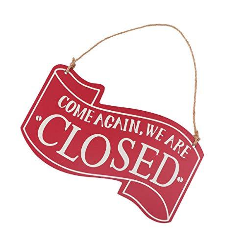 Placa VOSAREA aberta para porta de negócios, placa de porta de madeira dupla face para pendurar na porta da casa café loja decoração (vermelha)
