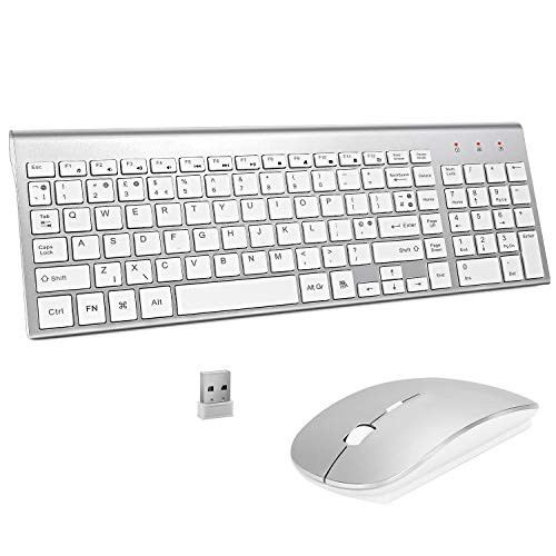 Wireless Keyboard and Mouse Sets,UK Layout 2.4Ghz USB Receiver Full Size Keyboard Combo Compact Compatible with iMac Mac PC Laptop Tablet Computer Windows (Silver White)