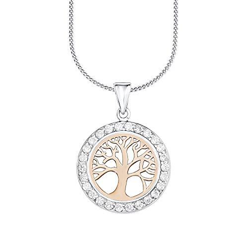 amor Kette mit Anhänger für Damen 45 cm mit Anhänger Lebensbaum Bicolor 925 Silber teil-rosévergoldet Zirkonia weiß