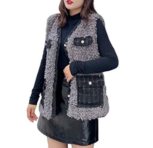 GL SUIT Dames Faux Bont Vest Jas Meisjes Winter Lichaam Warm Gilet Dames Wol Roll Taillejas Mouwloos Jas Bovenkleding voor Wandelen Reizen