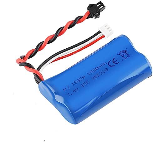 YUNIQUE ITALIA 1 Pezzo Batteria Lipo da 1500mAh 7.4V 2S per U12A S033G Q1 H101 con connettore SM-2P per Rc Giocattoli Barca Auto Drone
