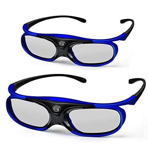 3D DLP Link Glasses, ELEPHAS 144Hz Rechargeable Active Shutter Eyewear for All 3D DLP-Link Projectors- Acer, ViewSonic, BenQ Vivitek, Optoma, Panasonic, Dell, Viewsonic etc (2 Pack)
